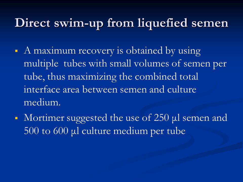 Direct swim-up from liquefied semen