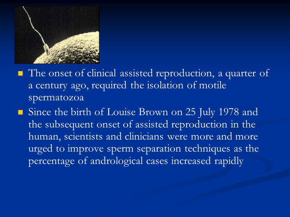 The onset of clinical assisted reproduction, a quarter of a century ago, required the isolation of motile spermatozoa