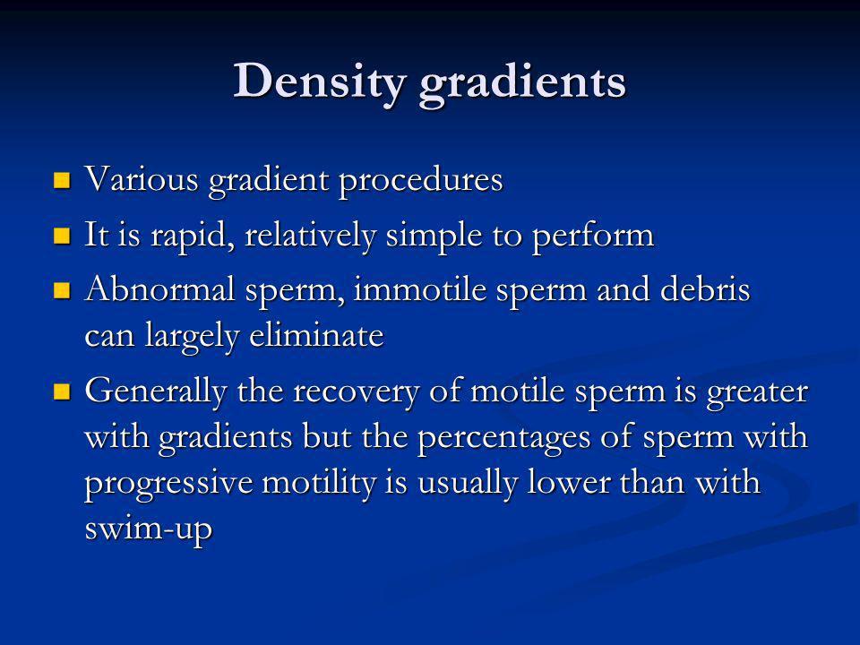 Density gradients Various gradient procedures