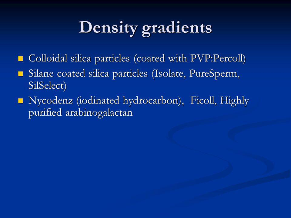 Density gradients Colloidal silica particles (coated with PVP:Percoll)