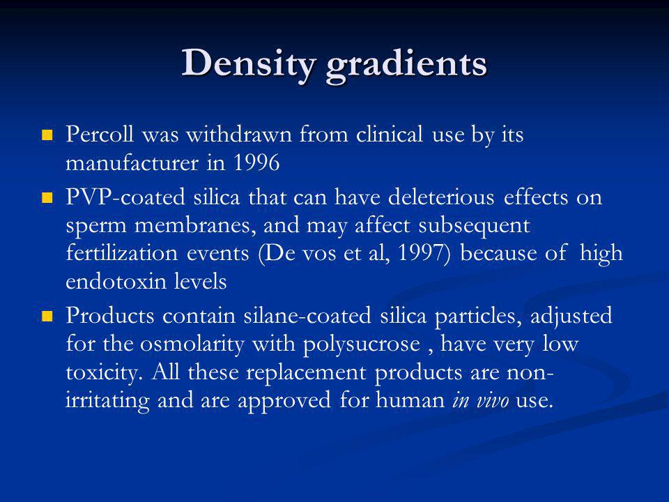 Density gradients Percoll was withdrawn from clinical use by its manufacturer in 1996.