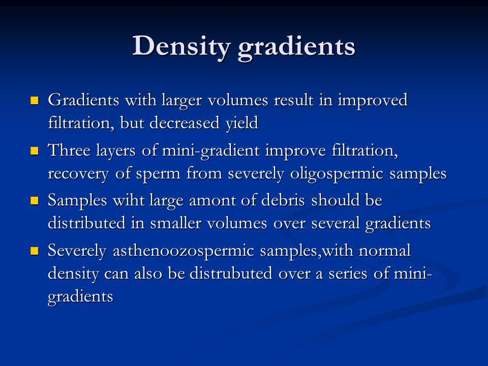 Density gradients Gradients with larger volumes result in improved filtration, but decreased yield.