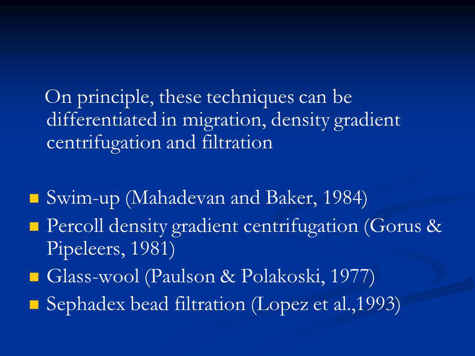 On principle, these techniques can be differentiated in migration, density gradient centrifugation and filtration