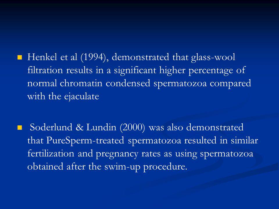 Henkel et al (1994), demonstrated that glass-wool filtration results in a significant higher percentage of normal chromatin condensed spermatozoa compared with the ejaculate