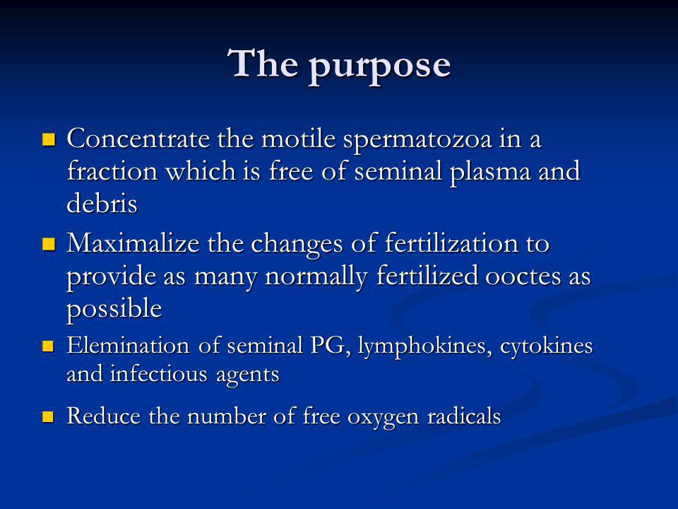 The purpose Concentrate the motile spermatozoa in a fraction which is free of seminal plasma and debris.