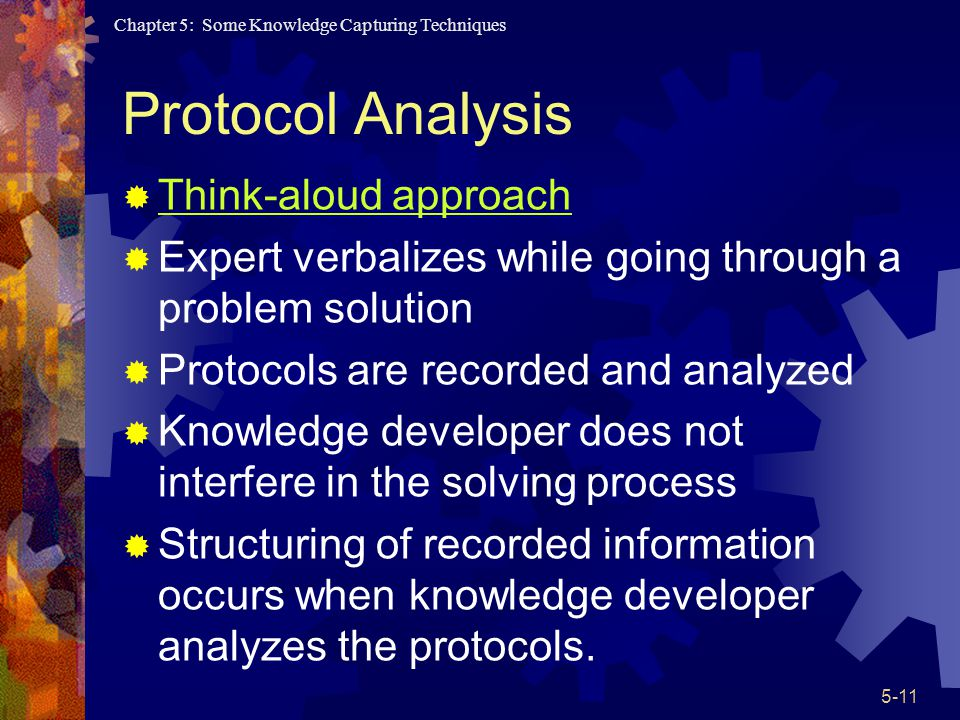 Protocol Analysis Think-aloud approach
