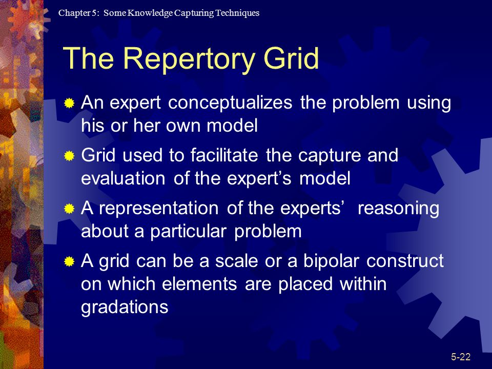 The Repertory Grid An expert conceptualizes the problem using his or her own model.