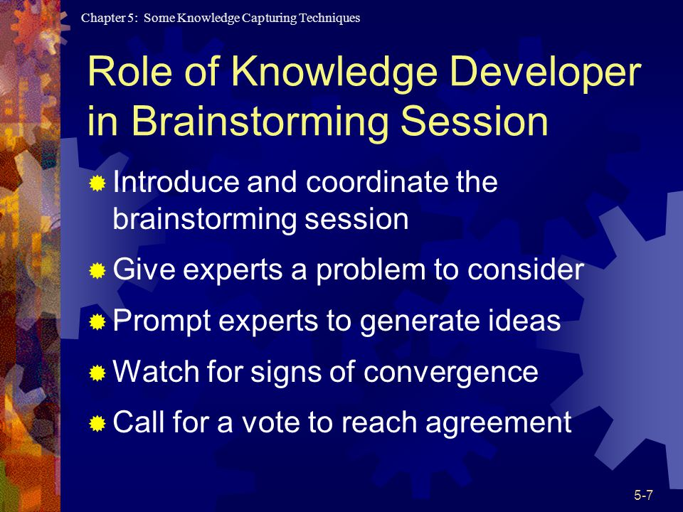 Role of Knowledge Developer in Brainstorming Session