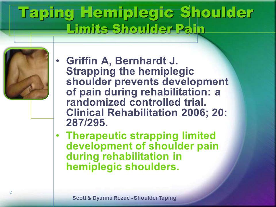 Taping Hemiplegic Shoulder Limits Shoulder Pain
