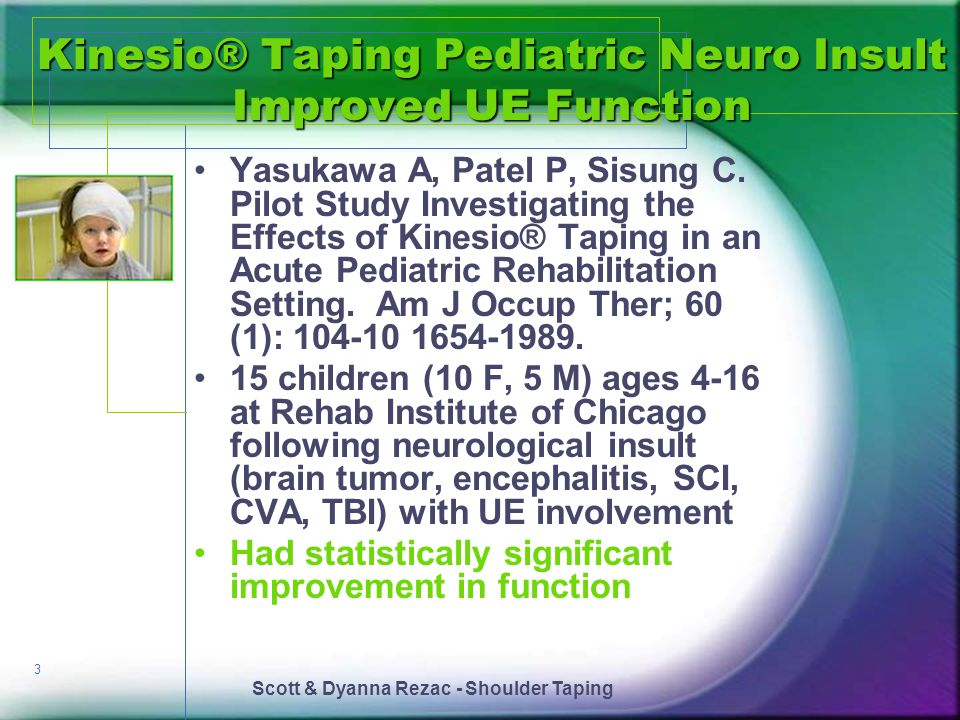 Kinesio® Taping Pediatric Neuro Insult Improved UE Function