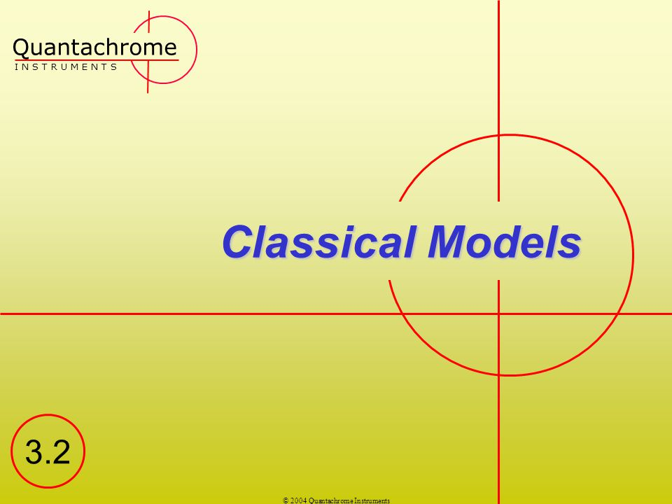 Quantachrome I N S T R U M E N T S Classical Models 3.2