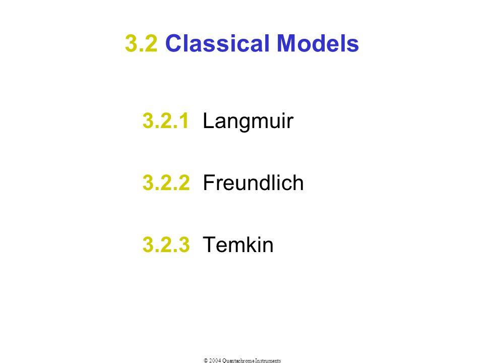3.2 Classical Models 3.2.1 Langmuir 3.2.2 Freundlich 3.2.3 Temkin