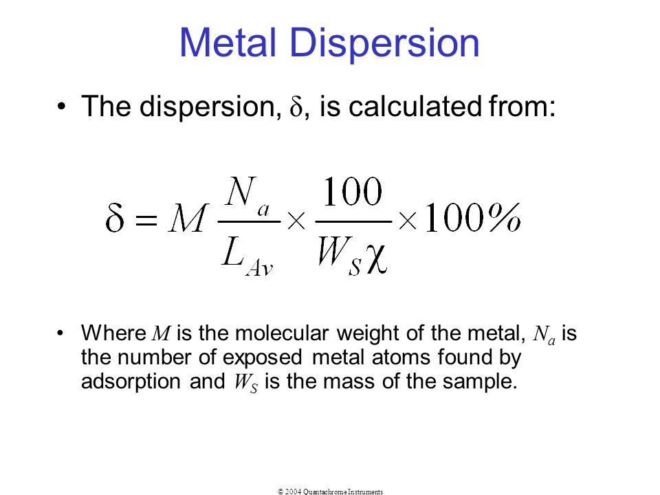 Metal Dispersion The dispersion, δ, is calculated from: