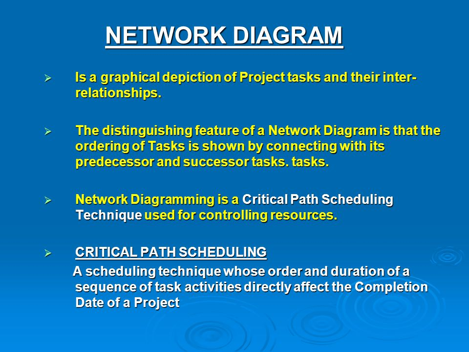 NETWORK DIAGRAM Is a graphical depiction of Project tasks and their inter-relationships.