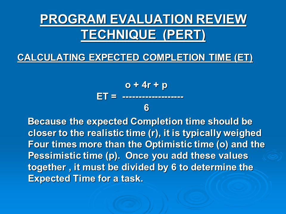 PROGRAM EVALUATION REVIEW TECHNIQUE (PERT)
