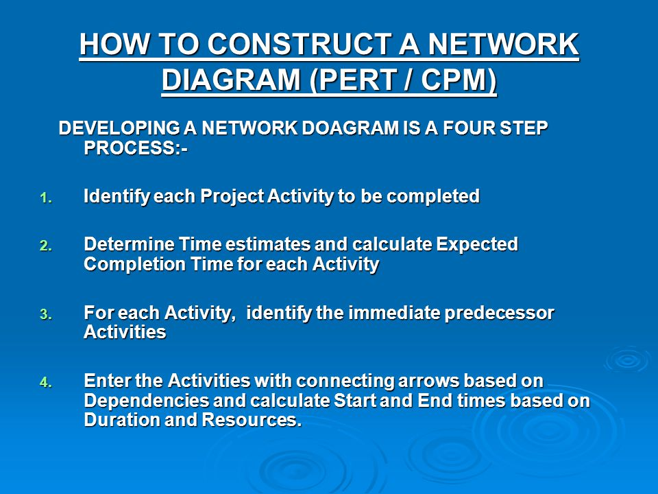HOW TO CONSTRUCT A NETWORK DIAGRAM (PERT / CPM)