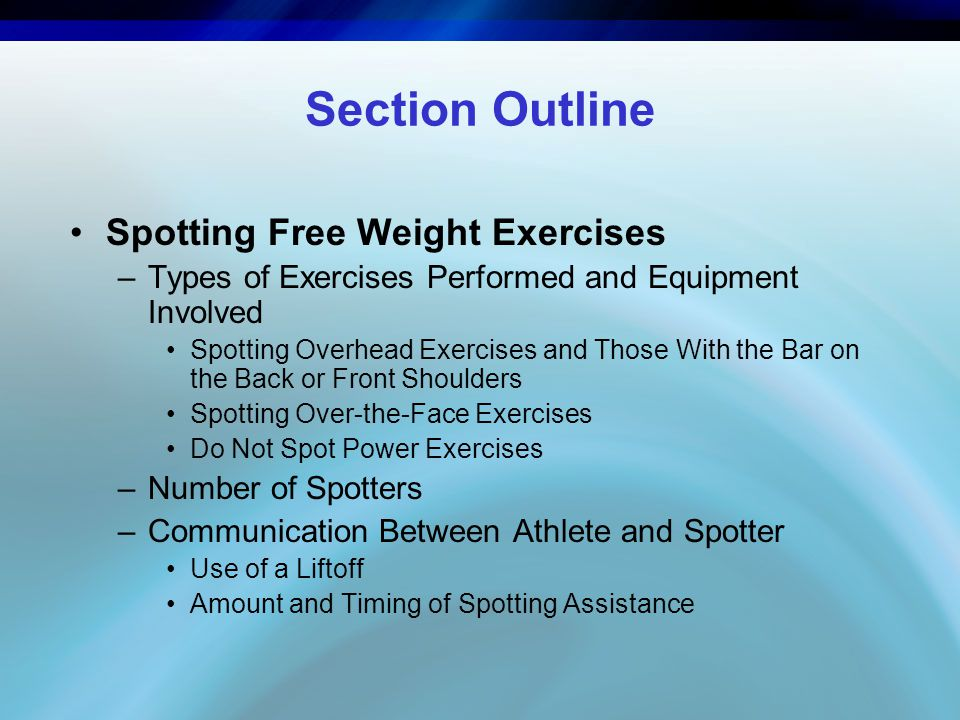 Section Outline Spotting Free Weight Exercises