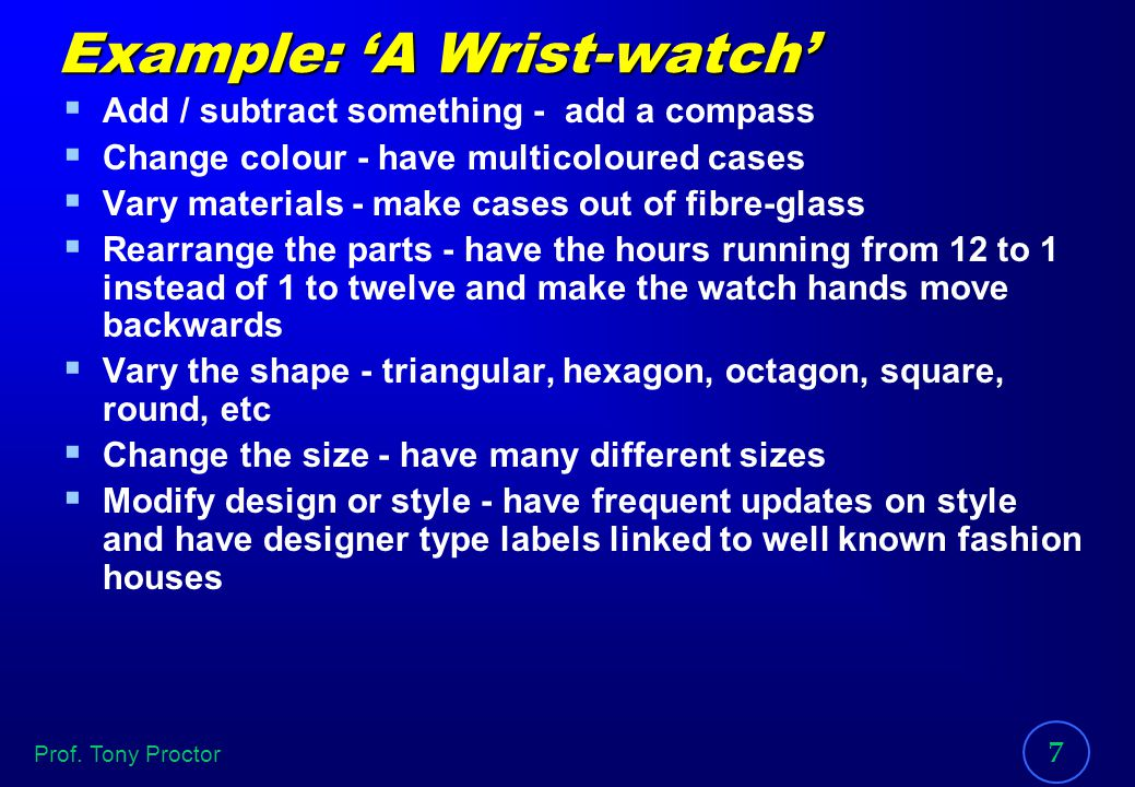 Example: 'A Wrist-watch'