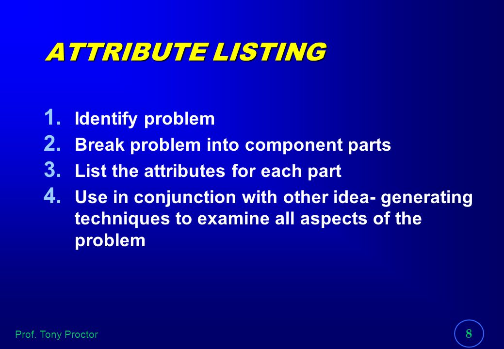 ATTRIBUTE LISTING Identify problem Break problem into component parts
