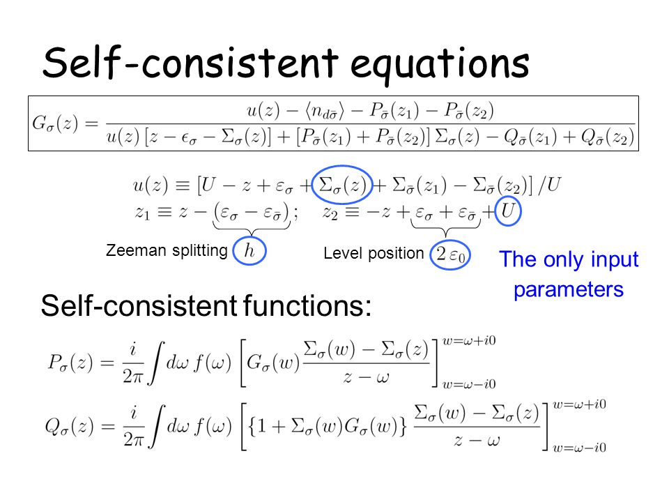 Self-consistent equations
