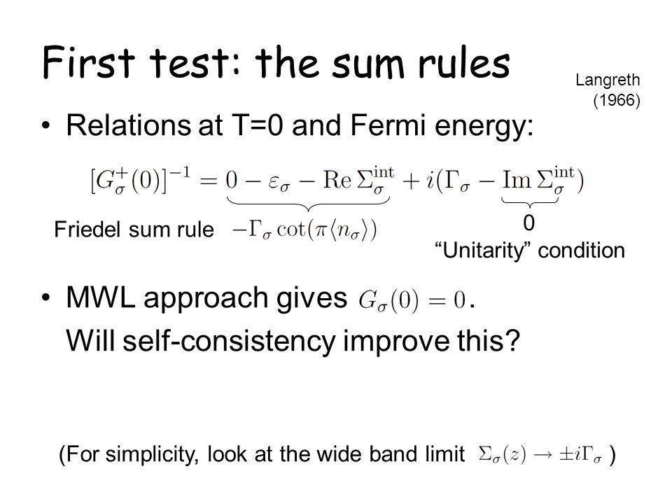 First test: the sum rules