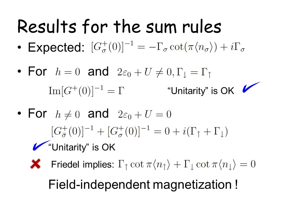 Results for the sum rules