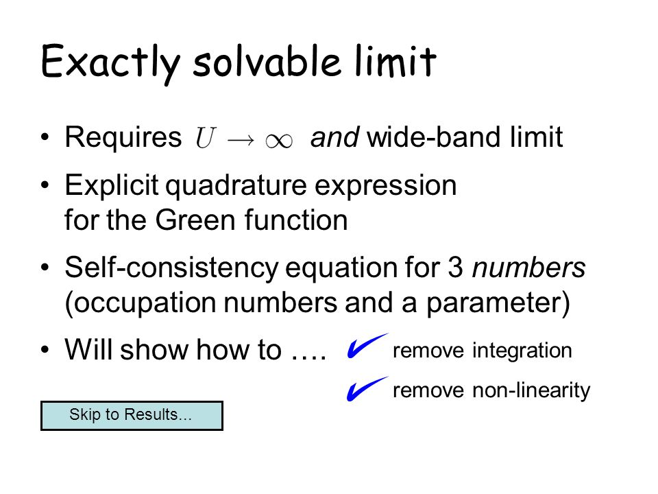 Exactly solvable limit