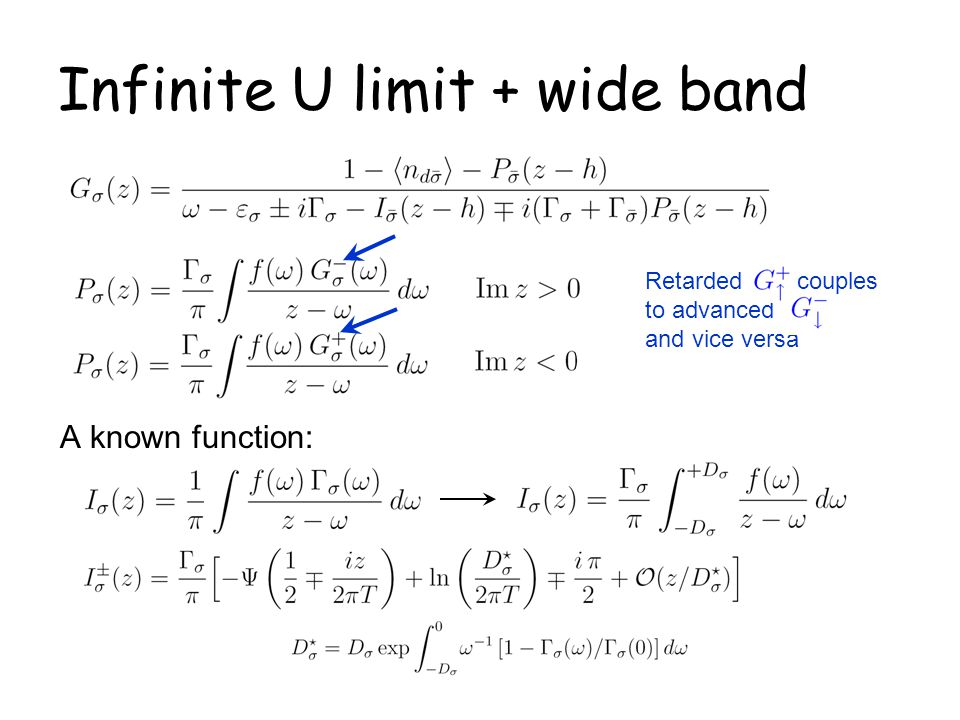 Infinite U limit + wide band