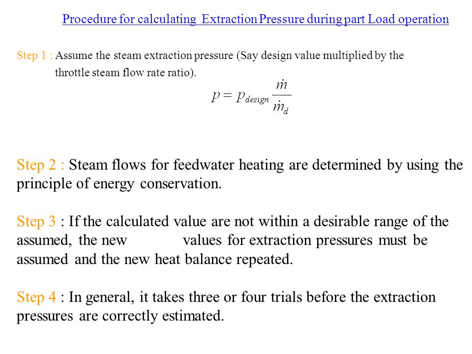 Procedure for calculating Extraction Pressure during part Load operation