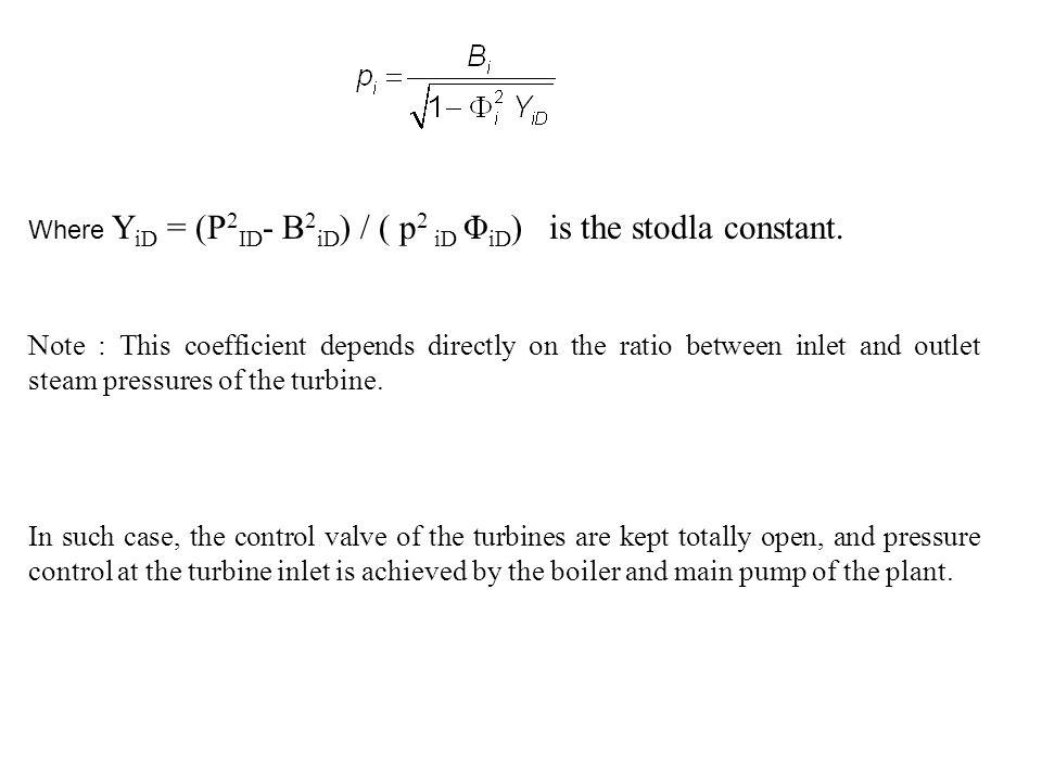 Where YiD = (P2ID- B2iD) / ( p2 iD ΦiD) is the stodla constant.