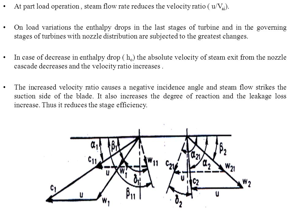 At part load operation , steam flow rate reduces the velocity ratio ( u/Vai).