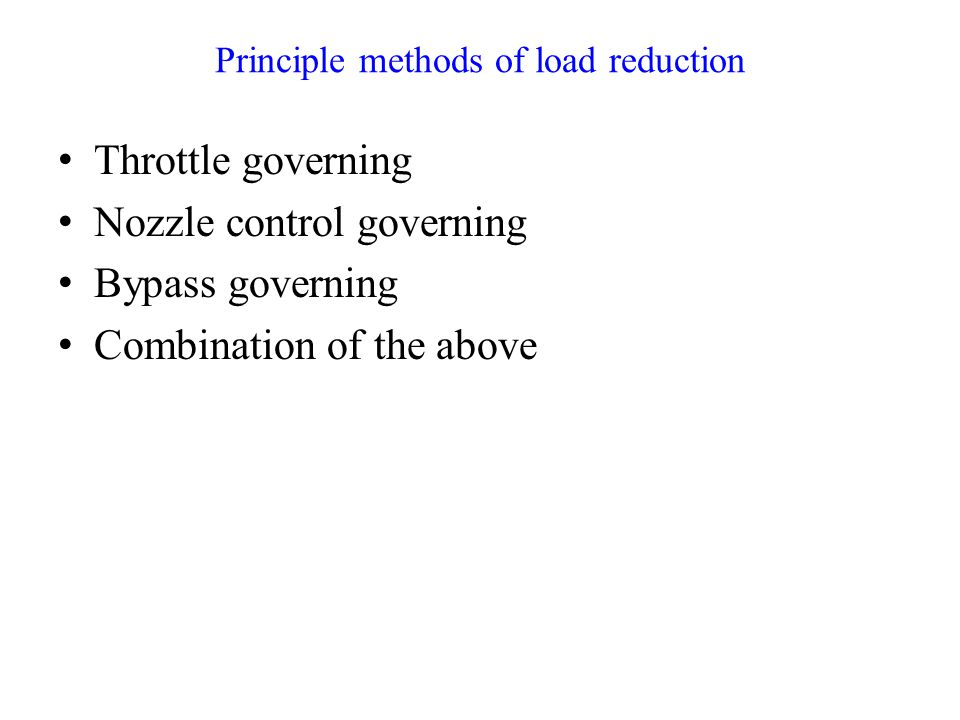 Principle methods of load reduction