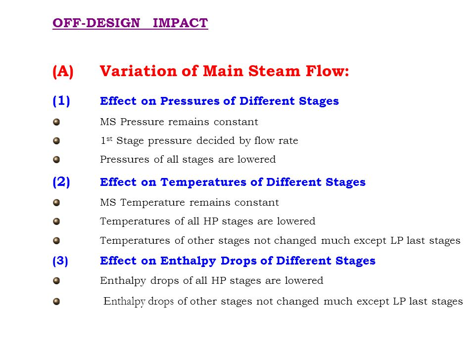 (1) Effect on Pressures of Different Stages