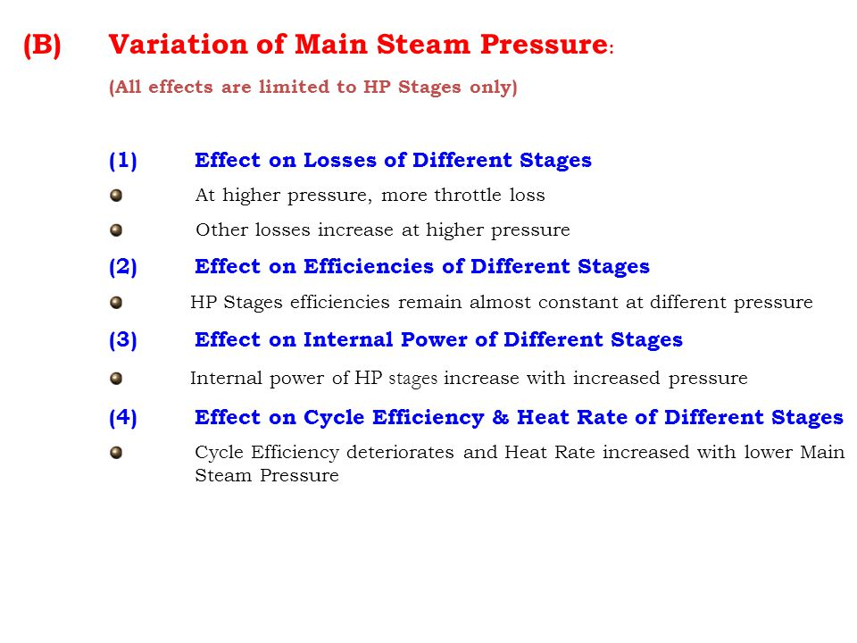 Variation of Main Steam Pressure:
