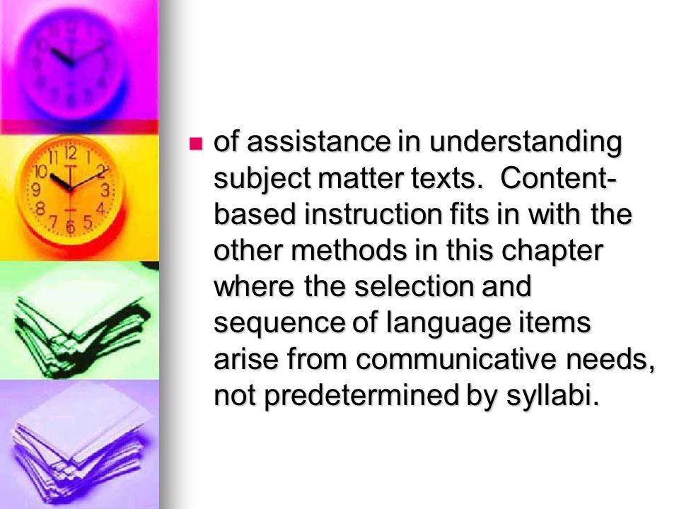 of assistance in understanding subject matter texts
