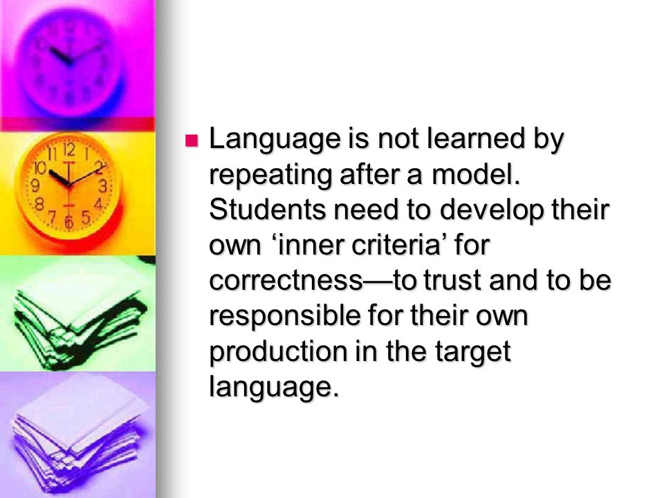Language is not learned by repeating after a model