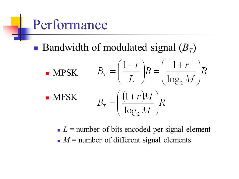 Performance Bandwidth of modulated signal (BT) MPSK MFSK