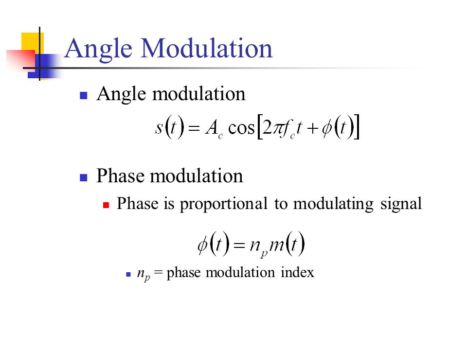 Angle Modulation Angle modulation Phase modulation