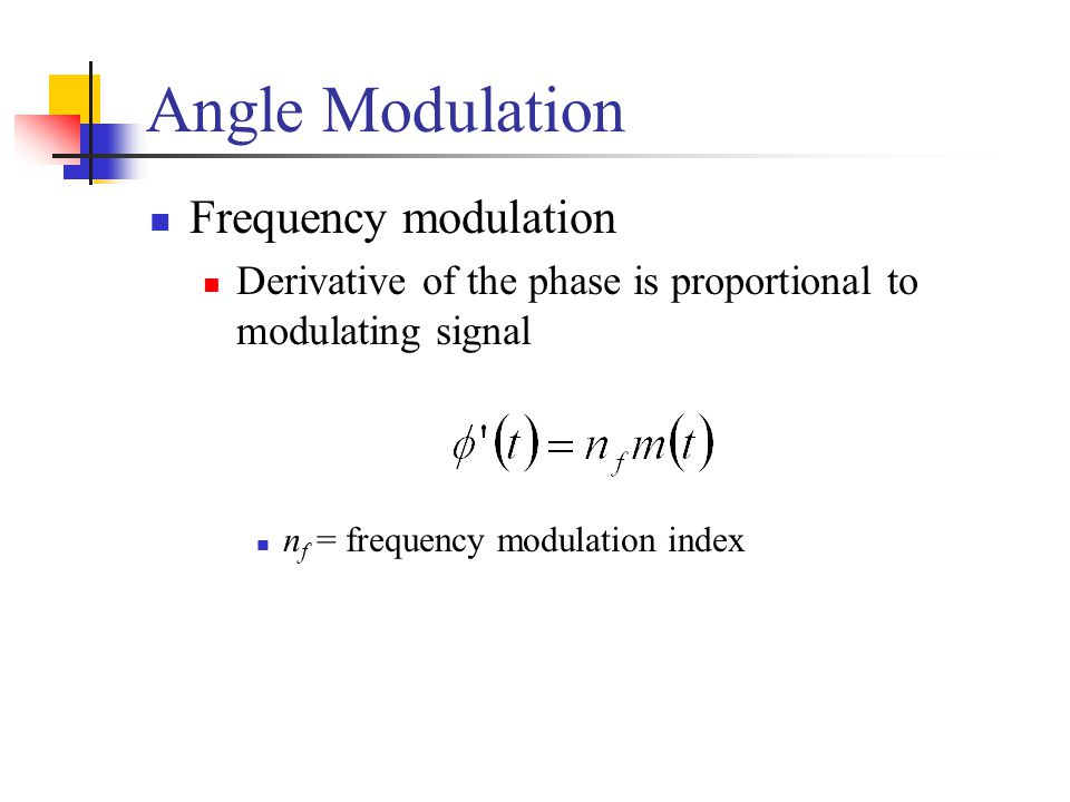 Angle Modulation Frequency modulation