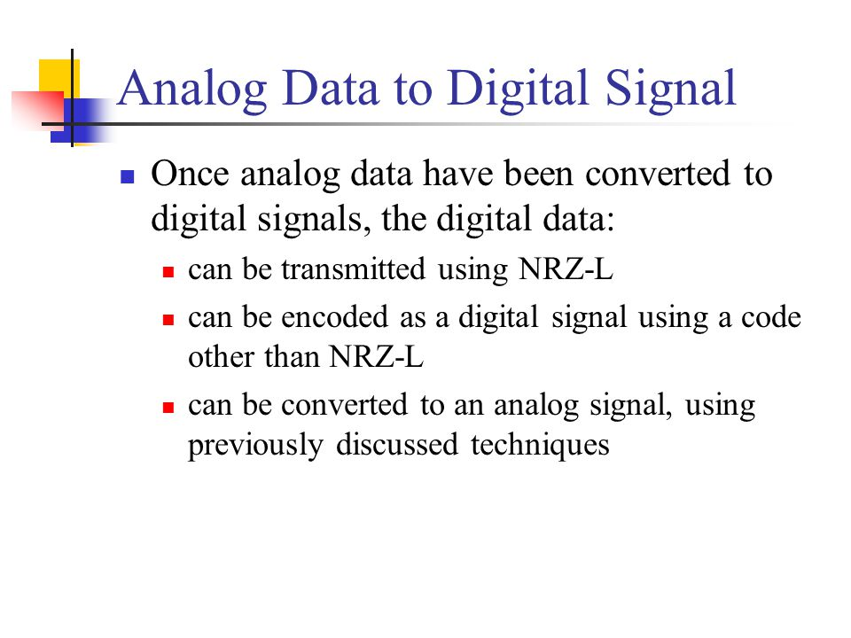 Analog Data to Digital Signal