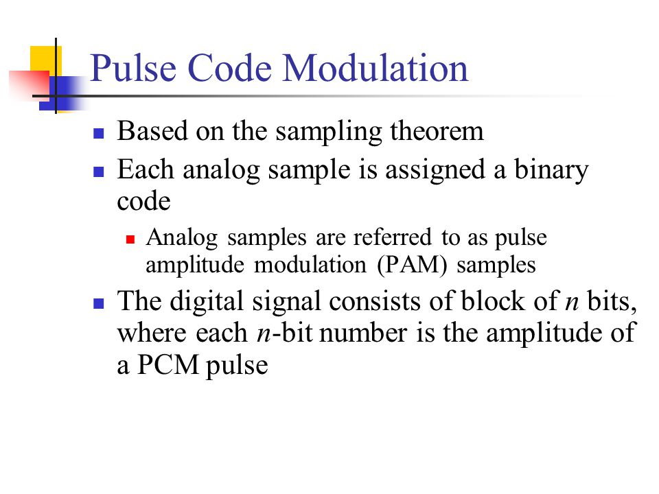 Pulse Code Modulation Based on the sampling theorem