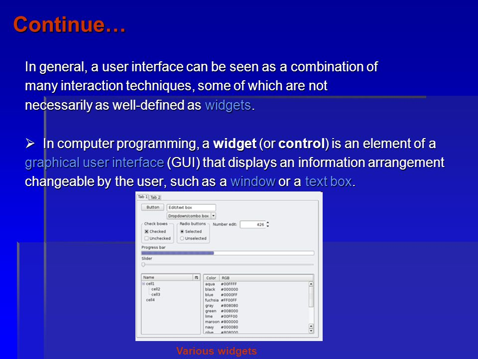 Continue… In general, a user interface can be seen as a combination of