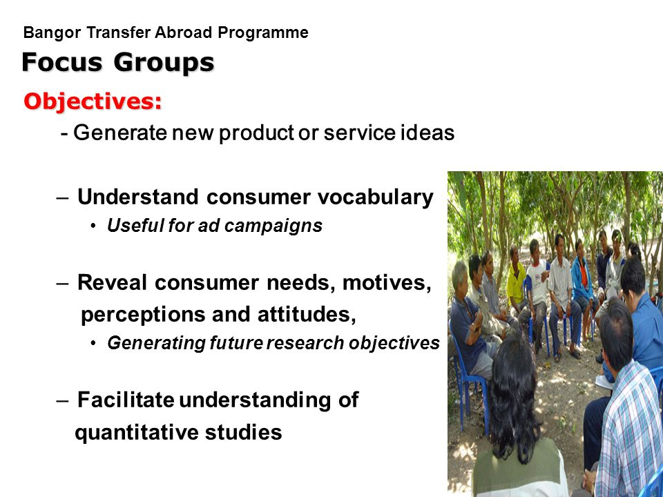 Focus Groups Objectives: - Generate new product or service ideas