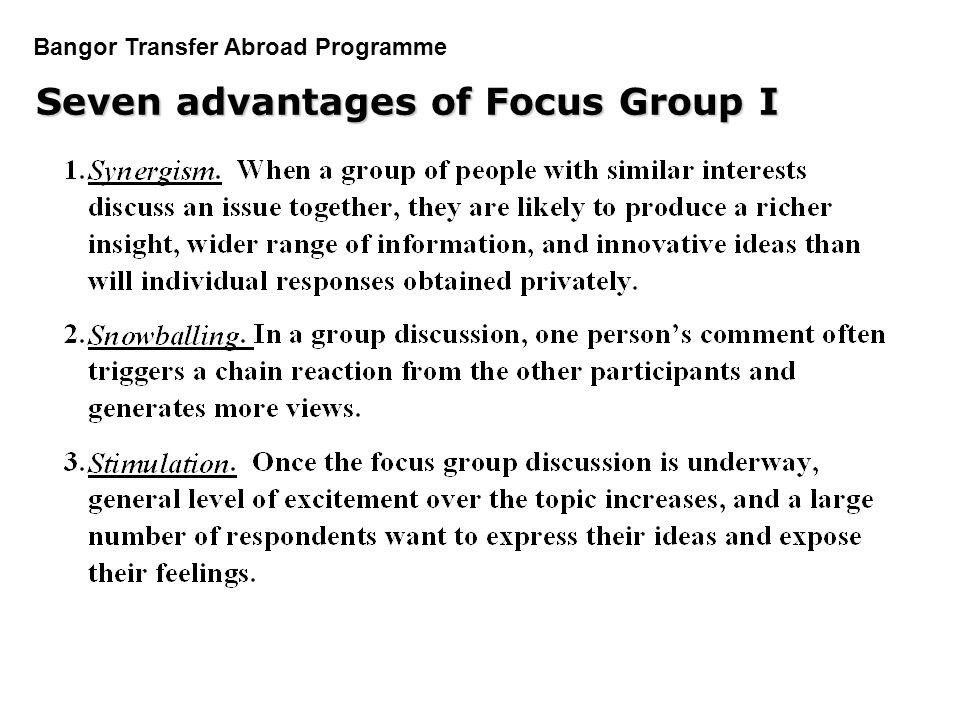 Seven advantages of Focus Group I
