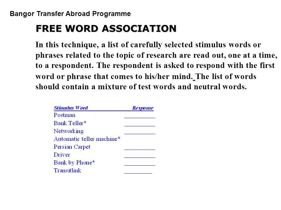 FREE WORD ASSOCIATION