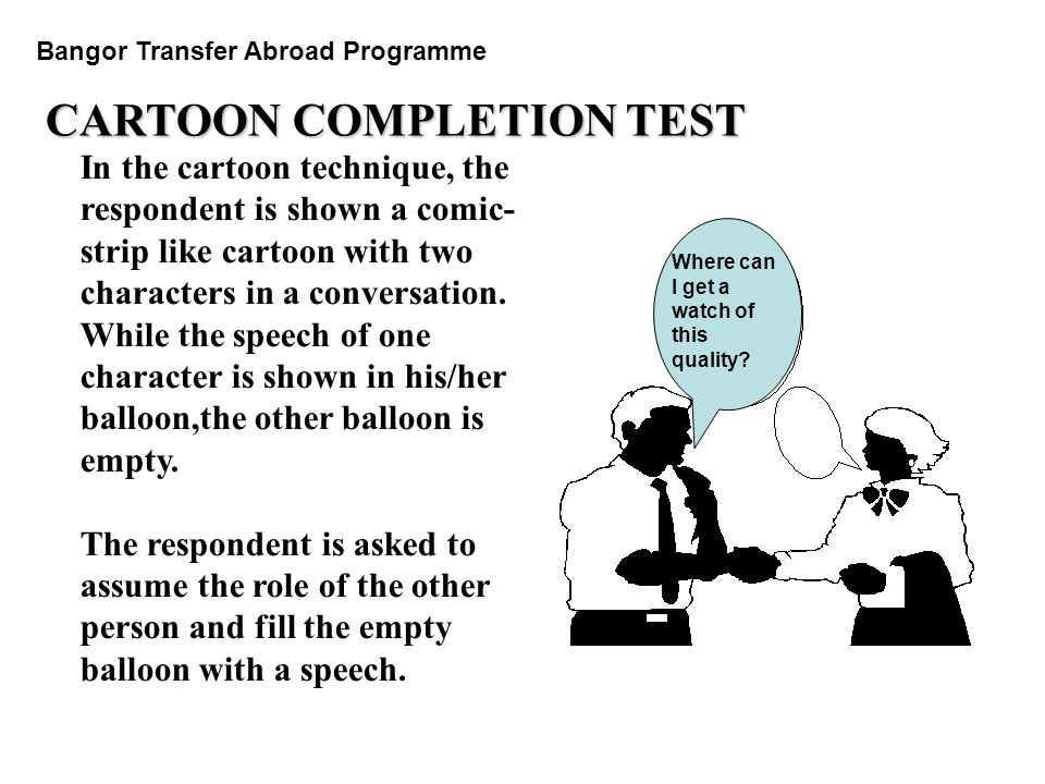 CARTOON COMPLETION TEST