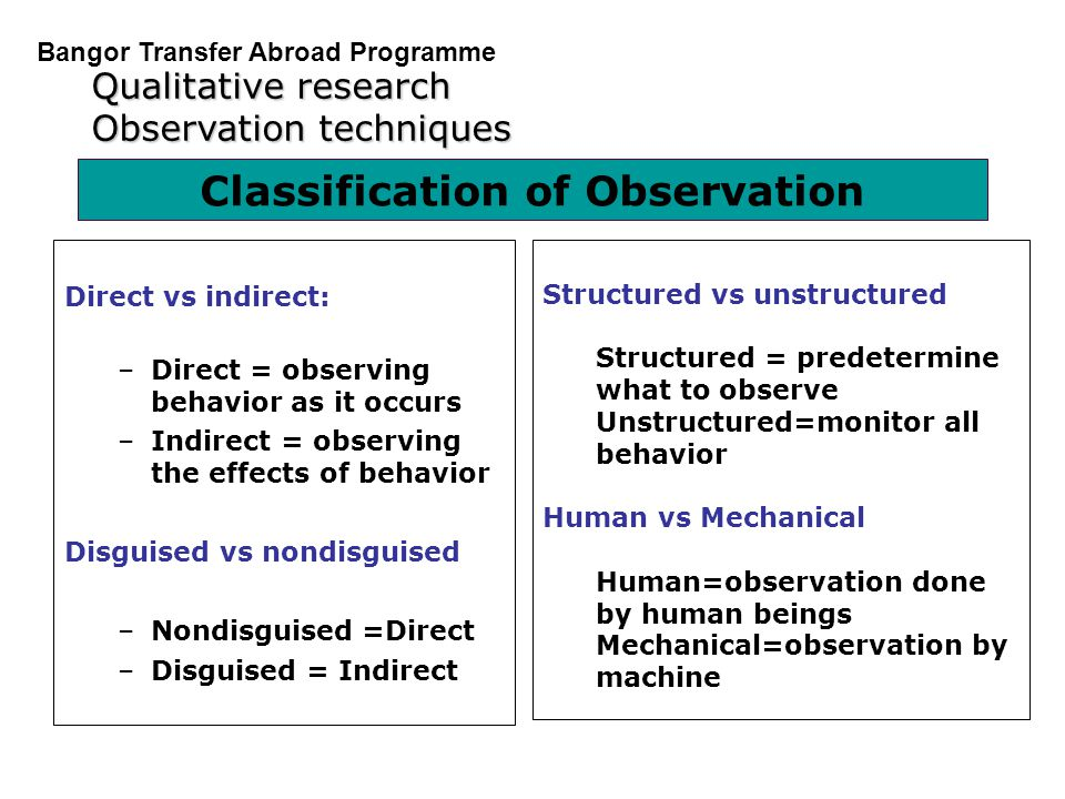 Classification of Observation