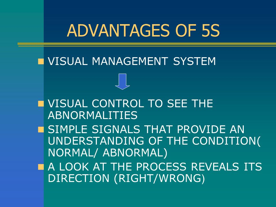 ADVANTAGES OF 5S VISUAL MANAGEMENT SYSTEM