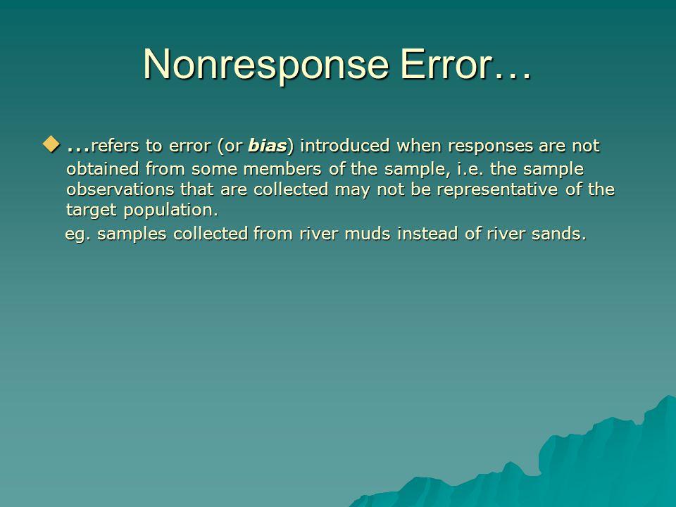 Nonresponse Error…
