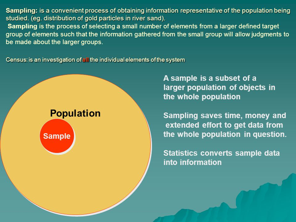 Population A sample is a subset of a larger population of objects in
